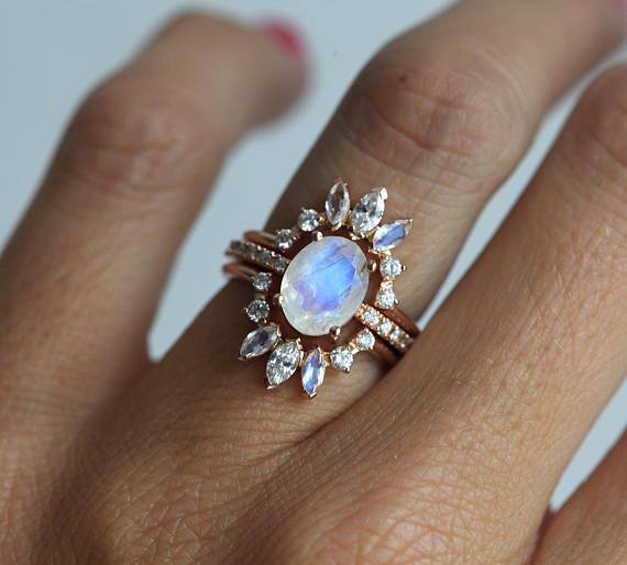 Ice wedding ring set