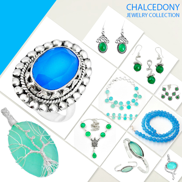 Chalcedony jewelry collection