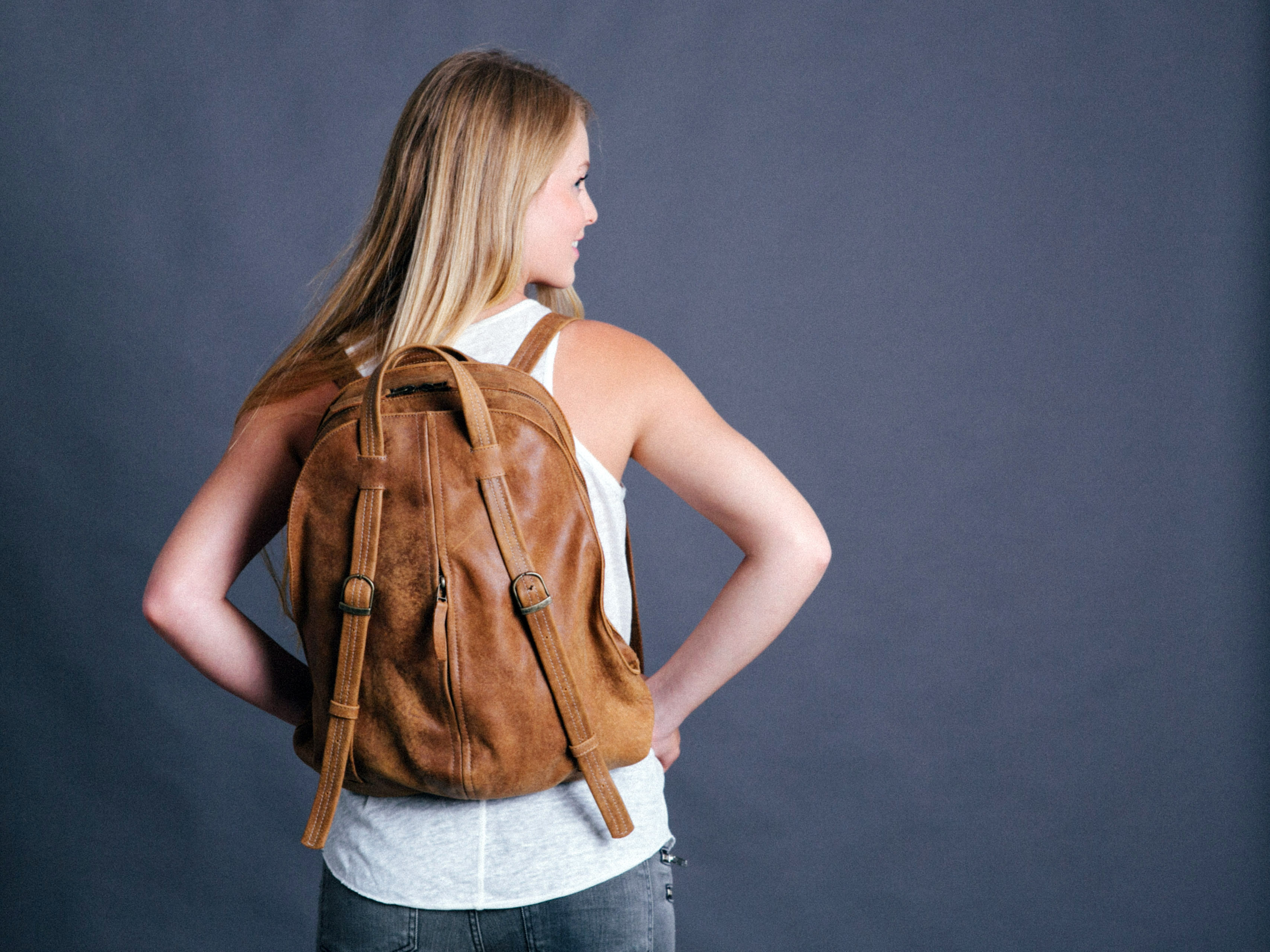 Maykobags   brown leather backpack