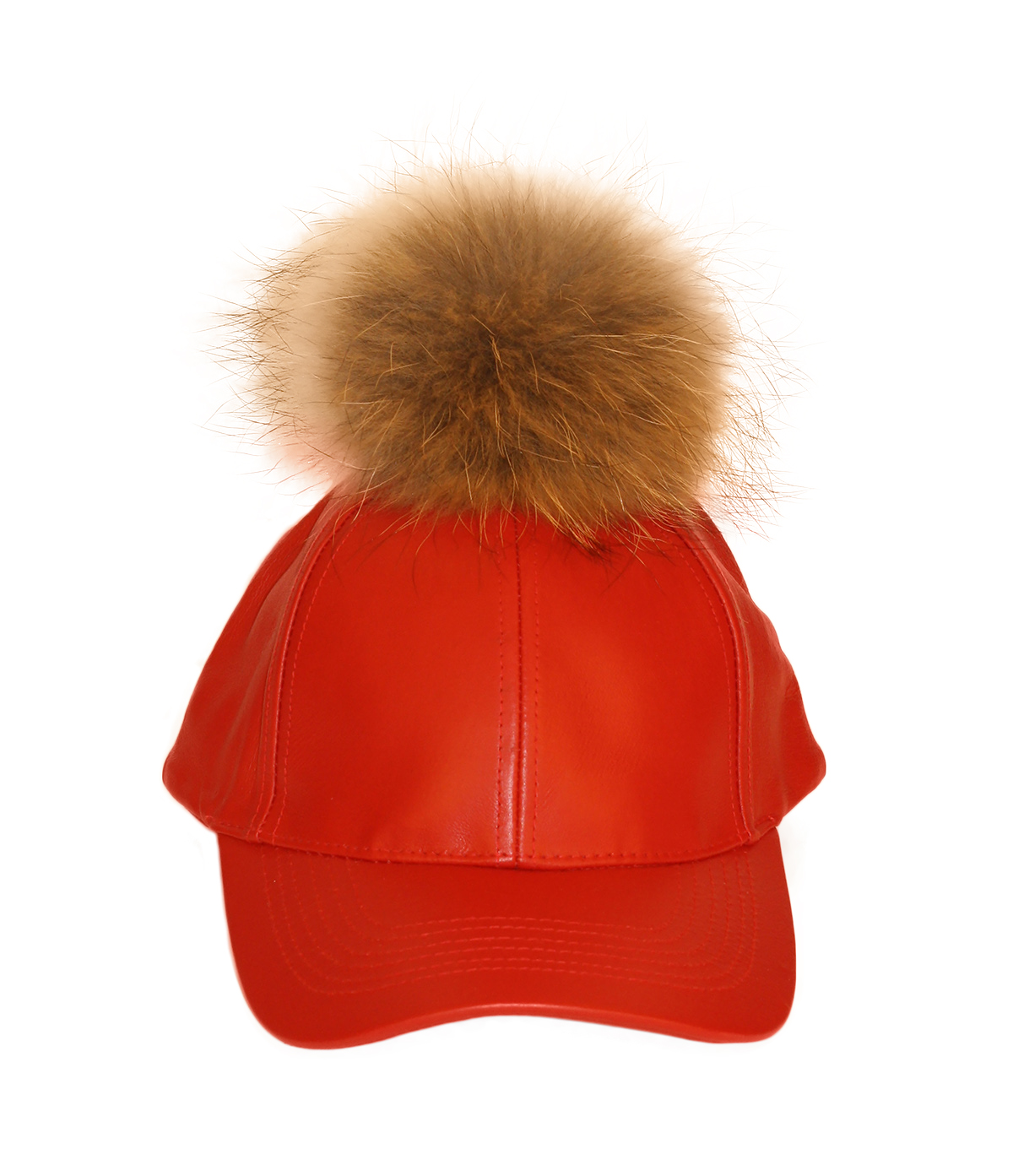 Red leather fur pom cap front view