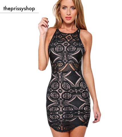 New geometry black lace dress tb 8272 large